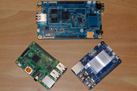 The Pine A64 compared to a Raspberry Pi 2 and an ODroid C1