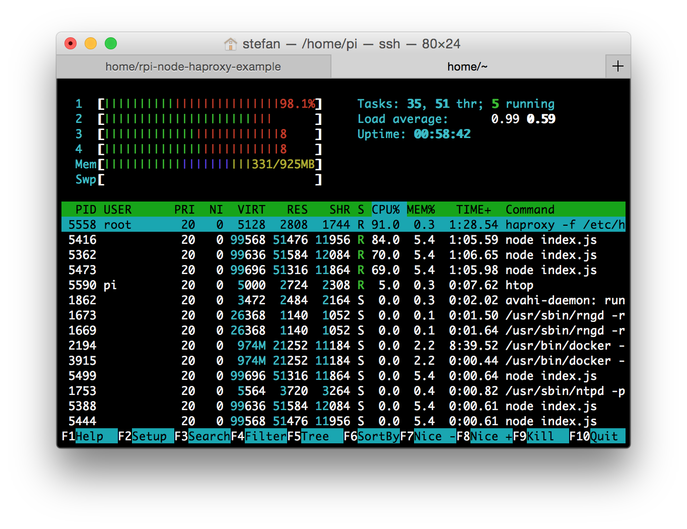 htop with 3 webserver and haproxy